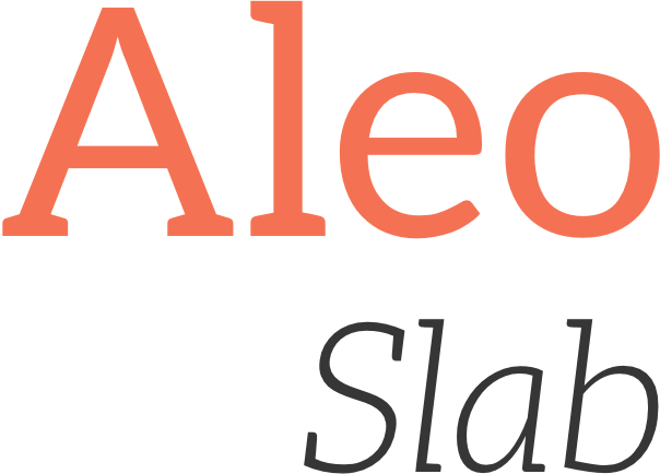 The words 'Aleo Slab' written using the Aleo font