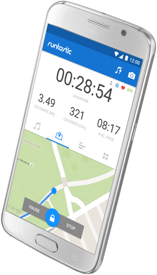 Android phone displaying the home screen of the Runtastic app